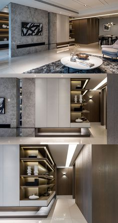 Tv Wall Design, Shelf Design, Cabinet Design, Home Room Design, Dream Home Design, House Design, Contemporary Interior, Modern Interior Design, Interior Architecture