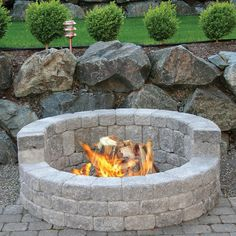 Mutual Materials 58 in. x 24 in. Concrete Romanstack High Back Fire Pit Kit in Cascade - The Home Depot Fire Pit Area, Diy Fire Pit, Fire Pit Backyard, Backyard Patio, Backyard Landscaping, How To Build A Fire Pit, Best Fire Pit, Fire Pit Near Pool, Garden Fire Pit