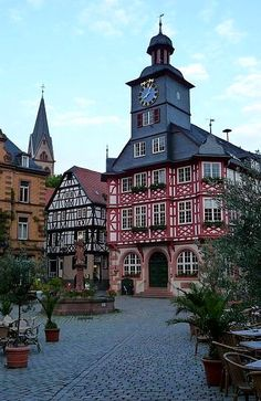 Market Square in the Old Τown of Heppenheim, Hesse, Germany