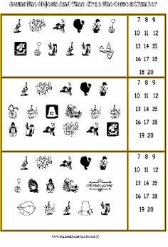 Gr 1 Thanksgiving Worksheet - Numbers and Counting, Simple Operations