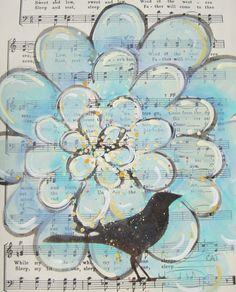 Love the idea of painting on vintage sheet music!