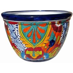 Mexican Talavera Pots, Pottery, Flowerpots, Containers | Garden... ❤ liked on Polyvore featuring home, outdoors, outdoor decor, mexican flower pots, mexican pottery planters, pottery flower pots, colorful flower pots and flower pot