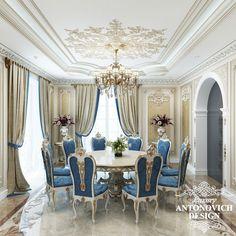 Элитный проект дома с уютной гостиной в классическом стиле от студии дизайна в Астане Luxury Antonovich Design