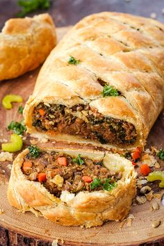 Vegan Wellington that is so dang flavorful and perfect for the holidays! Made with lentils, sunflower seeds, kale, and more tasty ingredients.