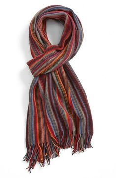 BOSS HUGO BOSS 'Napale' Stripe Scarf (Save Now through 12/9) available at #Nordstrom Men Accesories, Hugo Boss Orange, Striped Scarves, Stylish Men, Trendy Outfits, How To Look Better, Menswear, My Style, Men Scarf