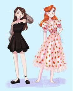Barbie Drawing, Dress Drawing, Phineas E Ferb, Chibi Sketch, Strawberry Dress, Modern Disney, Old Cartoons, Attractive People, Meet The Artist