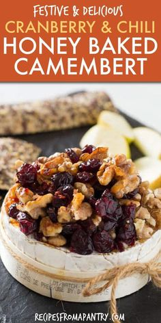 This baked Camembert recipe is simple, delicious and very seasonal with cranberries, walnuts and a drizzle of chilli honey. An easy Christmas recipe. Easy Potluck Recipes, Appetizer Recipes, Holiday Recipes, Snack Recipes, Appetizers, Family Recipes, Yummy Snacks, Summer Recipes, Free Recipes
