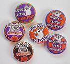 Mommy Daddy Halloween Flatback Pin Back Buttons 1 for Bows Magnets - Halloween Flatback Pins Embellishments, Magnets, Daddy, Bows, Scrapbook, Buttons, Halloween, Cute, Ornaments