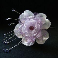 PET čelenka svatební květina fialová