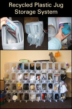 Have you any plastic jugs that are destined for some landfill somewhere? Why not do both the environment and your home by turning those jugs into storage compartments? This DIY storage system is so easy your kids can join in on the fun! Extra Storage, Diy Storage, Plastic Jugs, Recycling Ideas, Storage Compartments, Turning, Environment, Join, Diy Projects