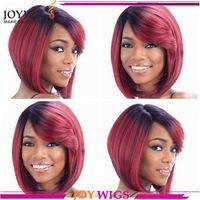 Popular ombre hair color human hair short bob lace wig with fringe free shipping