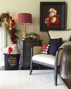 I found the perfect seasonal lamp at HomeGoods, a gold pine tree with a classic Christmas red plaid shade. It adds just the right amount of color and light. I also found a basket for next to the fireplace. This soft canvas basket with the words The Most Wonderful time of the Year now holds extra blankets, accent pillows orfirewood. Sponsored Post.