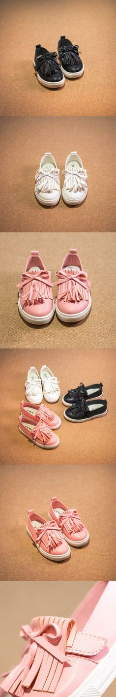 2016 Kids Shoes Spring Girls Leather Shoes Princess Tassel Flats Children Shoes Girls Cute Sneakers For Toddler Girls Trainers $17.62