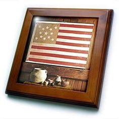 """1876 USA Flag - 8x8 Framed Tile by Florene. $22.99. Dimensions: 8"""" H x 8"""" W x 1/2"""" D. Cherry Finish. Keyhole in the back of frame allows for easy hanging.. Solid wood frame. Inset high gloss 6"""" x 6"""" ceramic tile.. 1876 USA Flag Framed Tile is 8"""" x 8"""" with a 6"""" x 6"""" high gloss inset ceramic tile, surrounded by a solid wood frame with predrilled keyhole for easy wall mounting.. Save 15%!"""