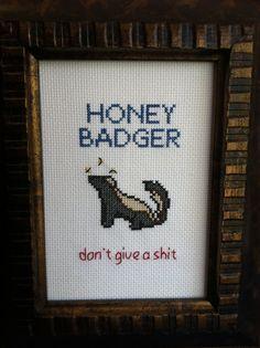 Honey Badger Cross Stitch - Finished piece
