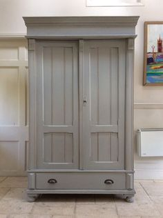 Antique French Gustavian Style Painted Grey Wardrobe Solid Pine Hall Cupboard | Antiques, Antique Furniture, Armoires/Wardrobes | eBay! Hall Cupboard, Solid Pine, French Antiques, Tall Cabinet Storage, Wardrobe Ideas, Wardrobes, Antique Furniture, Style, Home Decor