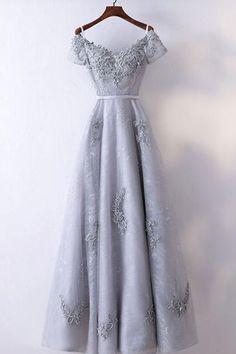 474ccf9191c Unique gray lace V neck long sweet 16 prom dress  promdress  prom  dress