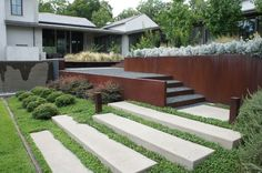 retaining walls, metal, contemporary gardens, garden structures, retain wall, landscape designs, design studios, wall design, stepping stones