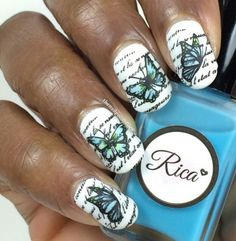 Stamping Nail Art,  butterflies over script.  Rica polishes - Squishy Blueberry & Squishy Lemon