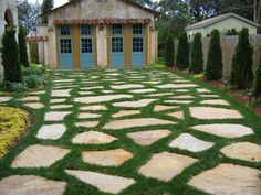 grass and stone driveway....Area to turn around without paving front yard