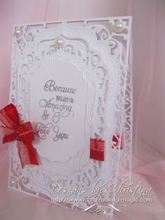 e 5 x 7 Elegant Labels 4 smaller plain Labels four and that is what the sentiment is stamped onto. I have embossed one of the panels and the card is created as a Filigree Hinged Card for a lovely lacy effect. Hand Made Greeting Cards, Making Greeting Cards, Christmas Cards, Making Cards, Spellbinders Cards, Stampin Up Cards, Card Making Inspiration, Making Ideas, Tattered Lace Cards