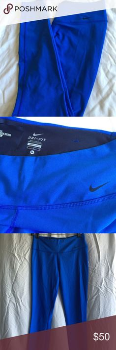 Royal blue Nike leggings Royal blue Nike DRI-FIT leggings. Rarely used, perfect condition, and zero damages. Hugged fit and high waisted. Great for the gym, not see through at all when stretched. Nike Pants Leggings