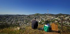 Looking With Steve At pleasing view of San Francisco & Twin Peaks from Corona Heights. Steve was drawing Sutro Tower when I took this shot.   Corona Heights Park is a park in the Castro and Corona Heights neighborhoods of San Francisco, California, United States. It is situated immediately to the south of Buena Vista Park. ... #LookingWith #CoronaHeights #SanFrancisco #CA #USA http://www.lookingwith.com/home/photo/181
