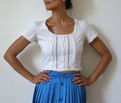 KENZO French Designer White Cotton Cropped Blouse by bOmode, $68.00
