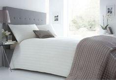 J by Jasper Conran Designer cream striped cotton blend bedding set- | Debenhams. Size double