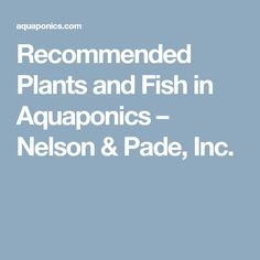 Recommended Plants and Fish in Aquaponics – Nelson & Pade, Inc.