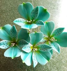Gum Paste Alstroemeria Flower Cake Decoration Teal by SweetEdibles, $5.00