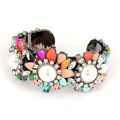 Trendy Multicolor Flower Gemstone Decorated Design Acrylic Fashion Bangles http://earrings.asumall.com/