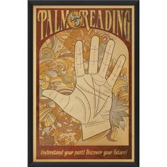 Palm Reading Poster, 17830 EB ($199) ❤ liked on Polyvore featuring home, home decor, wall art, framed wall art and framed posters