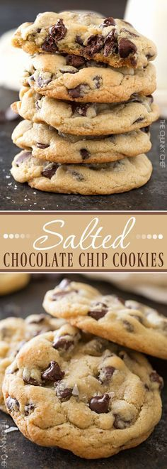 Salted Chocolate Chip Cookies   Thick, chewy chocolate chip cookies that are perfectly crisp on the edges and soft in the middle. The sea salt just accentuates the rich chocolate flavor!   http://thechunkychef.com