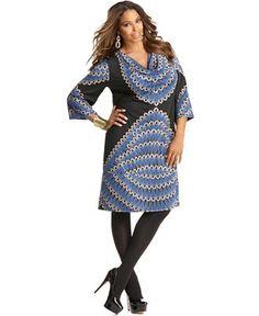 INC International Concepts Plus Size Dress, Three Quarter Sleeve Printed