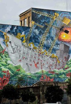 Avis de tempête ! / Street art. / Rome. / Italie. / Italy. / By Blu.