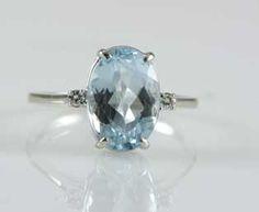 Vintage Aquamarine Diamond Ring