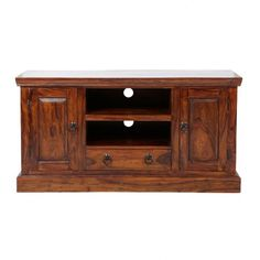 This chunky TV and media unit made from sustainable solid tropical sheesham wood provides ample storage with its two shelves, two doors and one draw and will look great in any room!