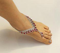 RedRoya Blue Wedding Barefoot Sandals Bridal Foot Jewelry