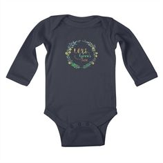 "Baby longsleeve bodysuit GET ""Love Grows Here"" by tanjica with 50% Off Code: CC7B755AA3DA80C673F7    Flowers and leaves in a wreath with handwritten calligraphy in watercolor technique for all garden and nature lovers. Simple but effective, elegant and sophisticated hand painted watercolor artwork. Best T-shirt for gardener, baby or maternity apparel!"