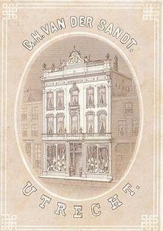 Gezicht op de voorgevel van het manufacturenmagazijn van de firma G.H. van der Sandt en Co (Oudegracht D 54/55 (links) en D 56 (rechts)) te Utrecht. - Het adres Oudegracht D 54/55 is in 1890 gewijzigd in Oudegracht Weerdzijde 32 en in 1917 in Oudegracht 147; het adres Oudegracht D 56 is in 1890 gewijzigd in Oudegracht Weerdzijde 34 en in 1917 in Oudegracht 145. – Gelithografeerd reclame - Datering: ca. 1865-1870