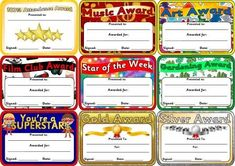 Free printable certificates for classrooms, play groups, home learning etc.