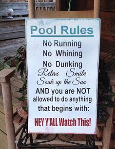 Pool Rules Sign with Hey Y'all Watch This by DesignedbyKandJ, $39.95