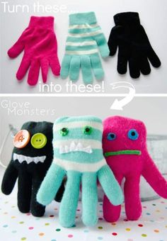 Glove Monsters… A fun way to recycle. — A ton of DIY super easy kids crafts a… Glove Monsters… A fun way to recycle. — A ton of DIY super easy kids crafts a…,class. Activities For Boys, Fun Crafts For Kids, Easy Diy Crafts, Cute Crafts, Creative Crafts, Diy For Kids, Arts And Crafts, Recycle Crafts, Fun Diy