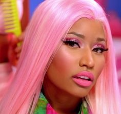 nicki minaj in pink hair and glitter eyeshadow, makeup inspiration, beauty, dope