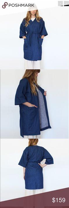 Esby Kirby Kimono jacket- indigo 12 oz cotton denim kimono jacket. Dropped shoulder, oversized fit, cropped sleeve, cocoon body. Belt tie at waist. Front of jacket has two big pockets. esby Jackets & Coats