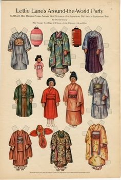 1910 Lettie Lane's Around-the-World Party: JAPANESE Girl and Boy -Paper Dolls -artist Sheila Young -Curtis Publishing Co. Philadelphia, PA | Several American women's magazines included pages of paper-based toys for youngsters to cut out and play with. Some magazines featured paper dolls of storybook characters, children from other lands, and stars of new and novel movies.
