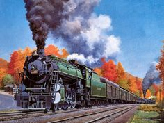 fantasy art trains | Art Train Painting - Art Train Journeys by Howard Fogg 3 - - Asheville ...