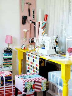 Fab sewing area. Bright and colourful!