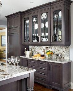 The dark cabinets